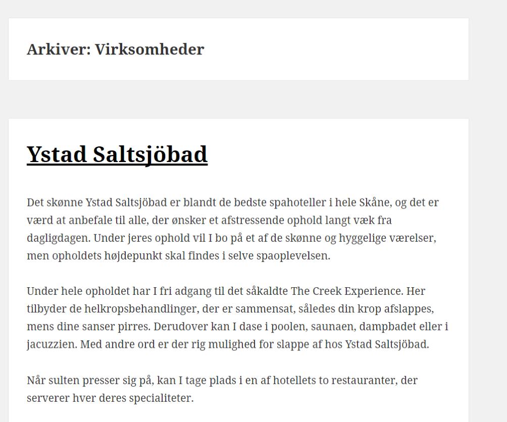 Billy Regnskabsprogram og Ystad Saltsjoebad