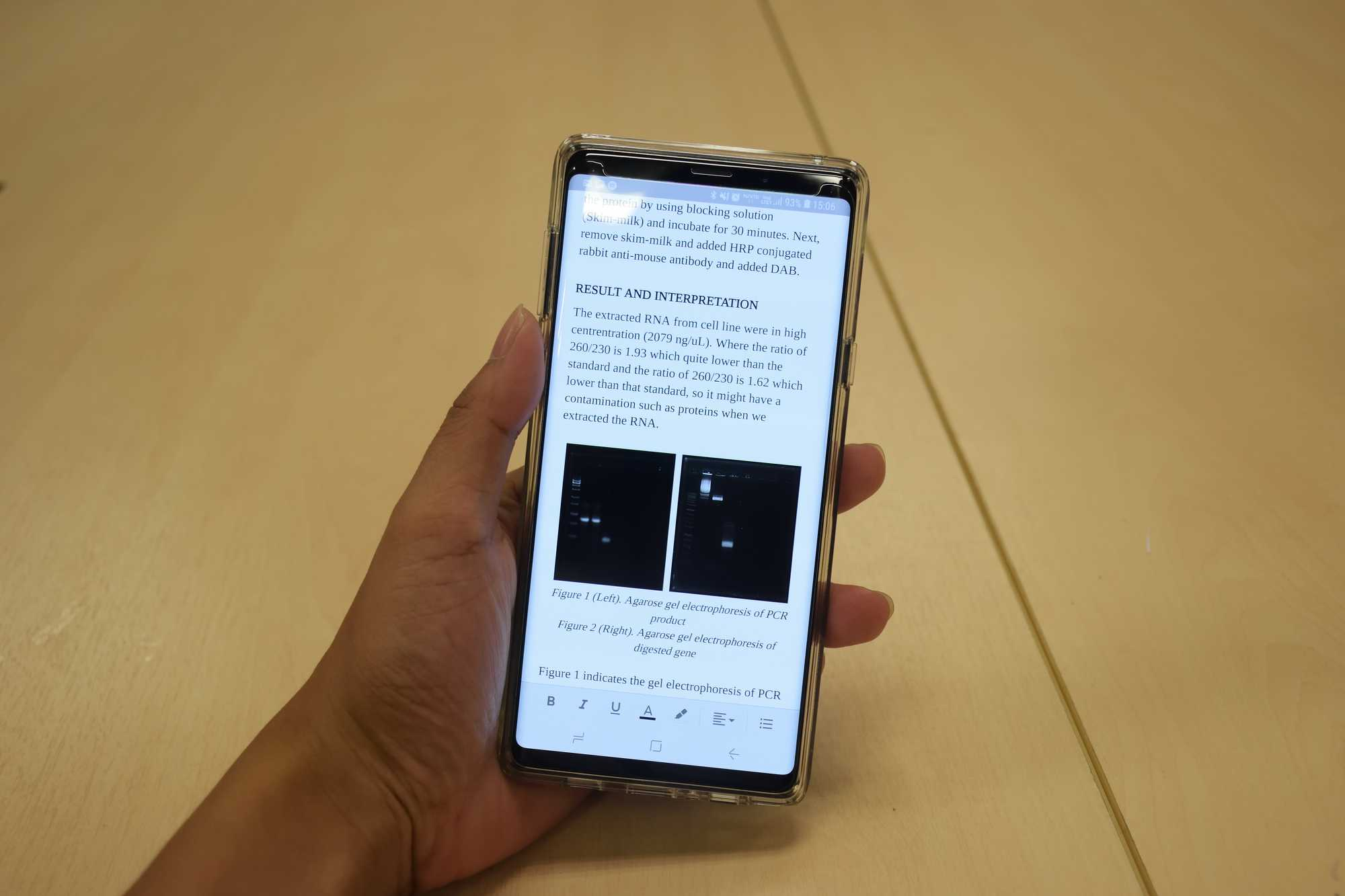 Samsung Galaxy Note 9 with Google Docs