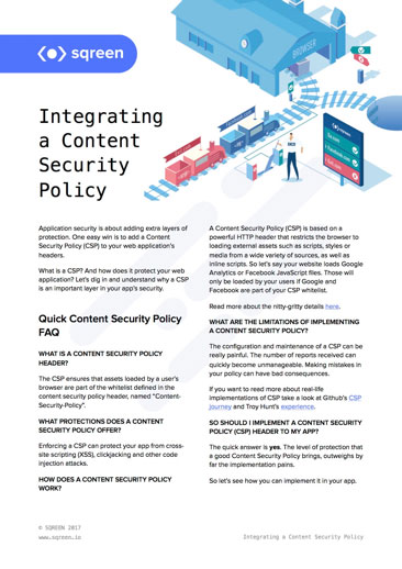 Integrating a Content Security Policy Cheat Sheet