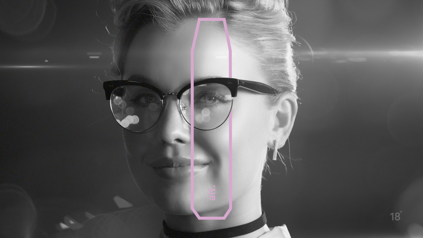 Vapo campaign still of woman with glasses