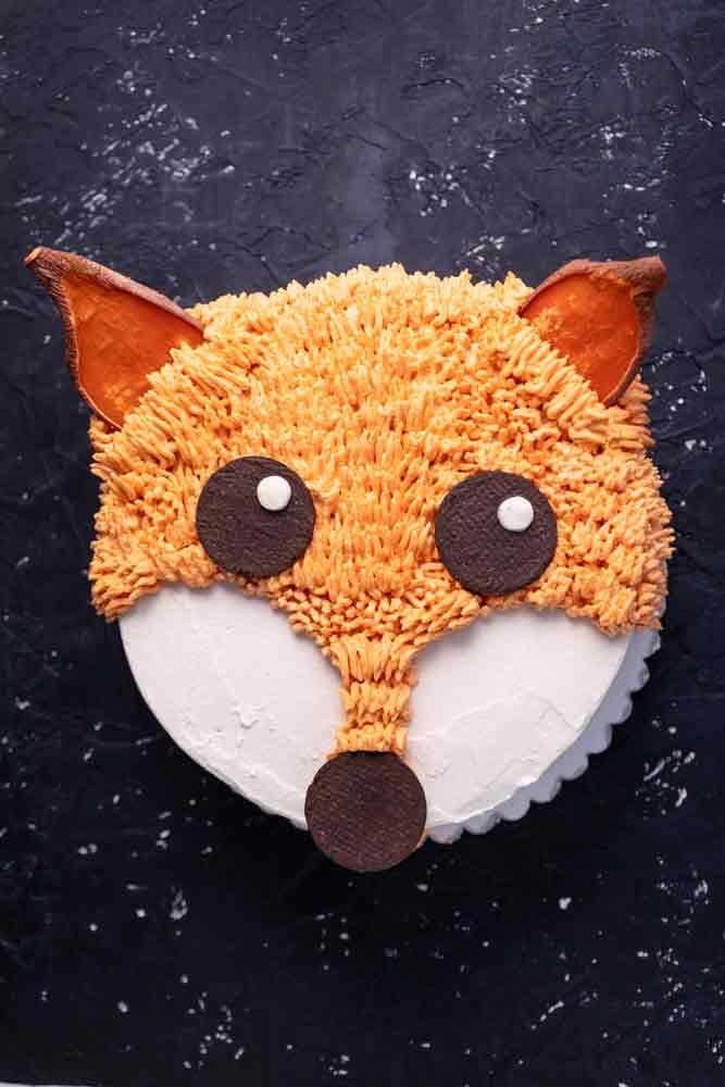 vegan carrot fox birthday cake