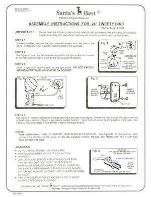 "Santa's Best 24"" Tweety Bird #61779 Instruction Manual.pdf preview"