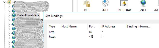 IIS default 443 port binding