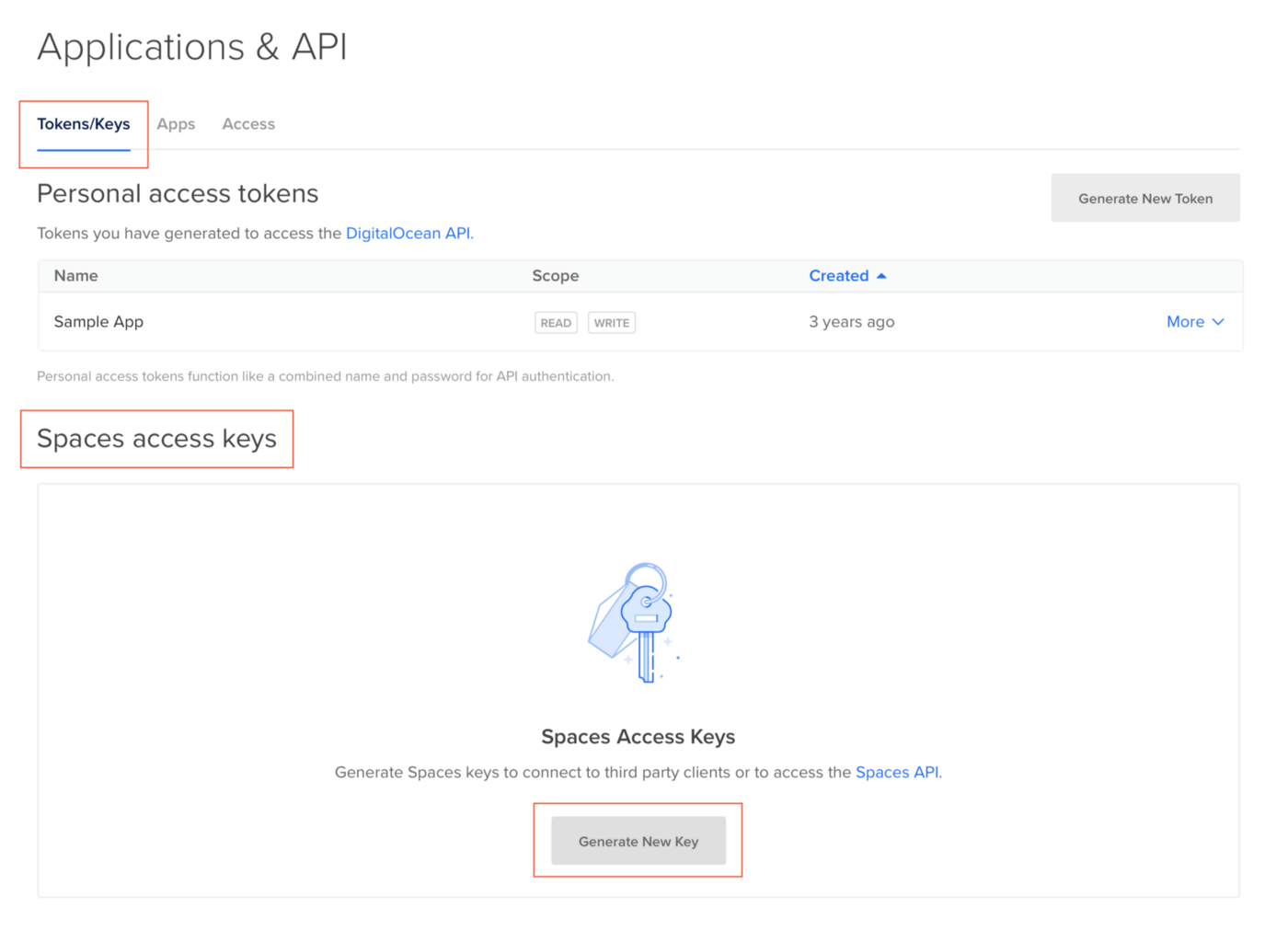Create DigitalOcean Spaces credentials