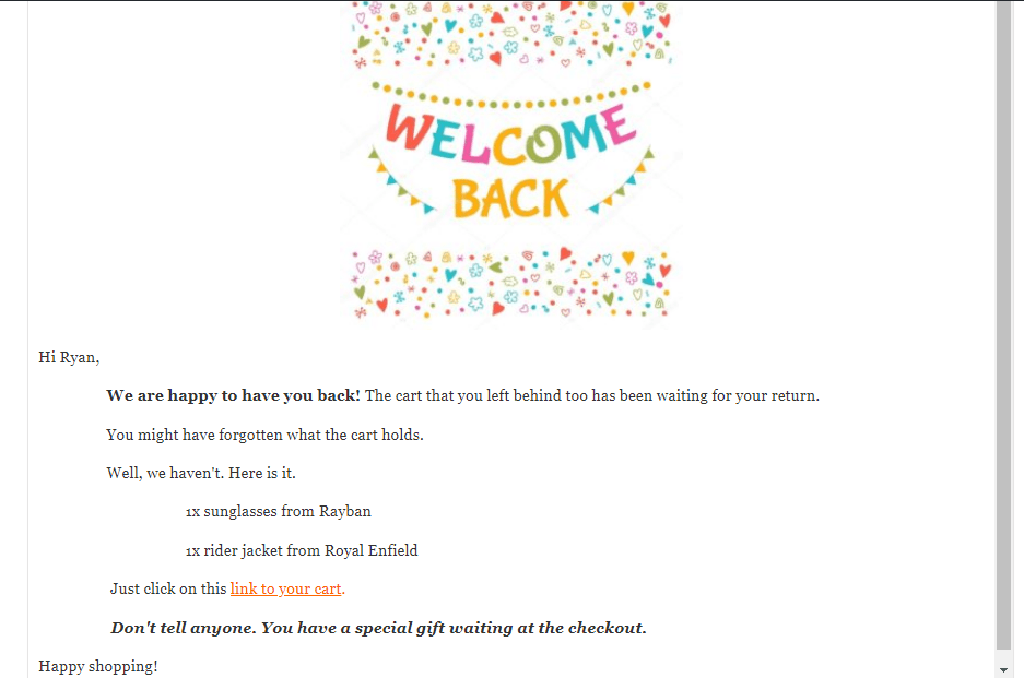 Welcome back email