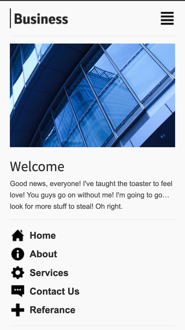 Screenshot of Business Mobi Light mobile website template