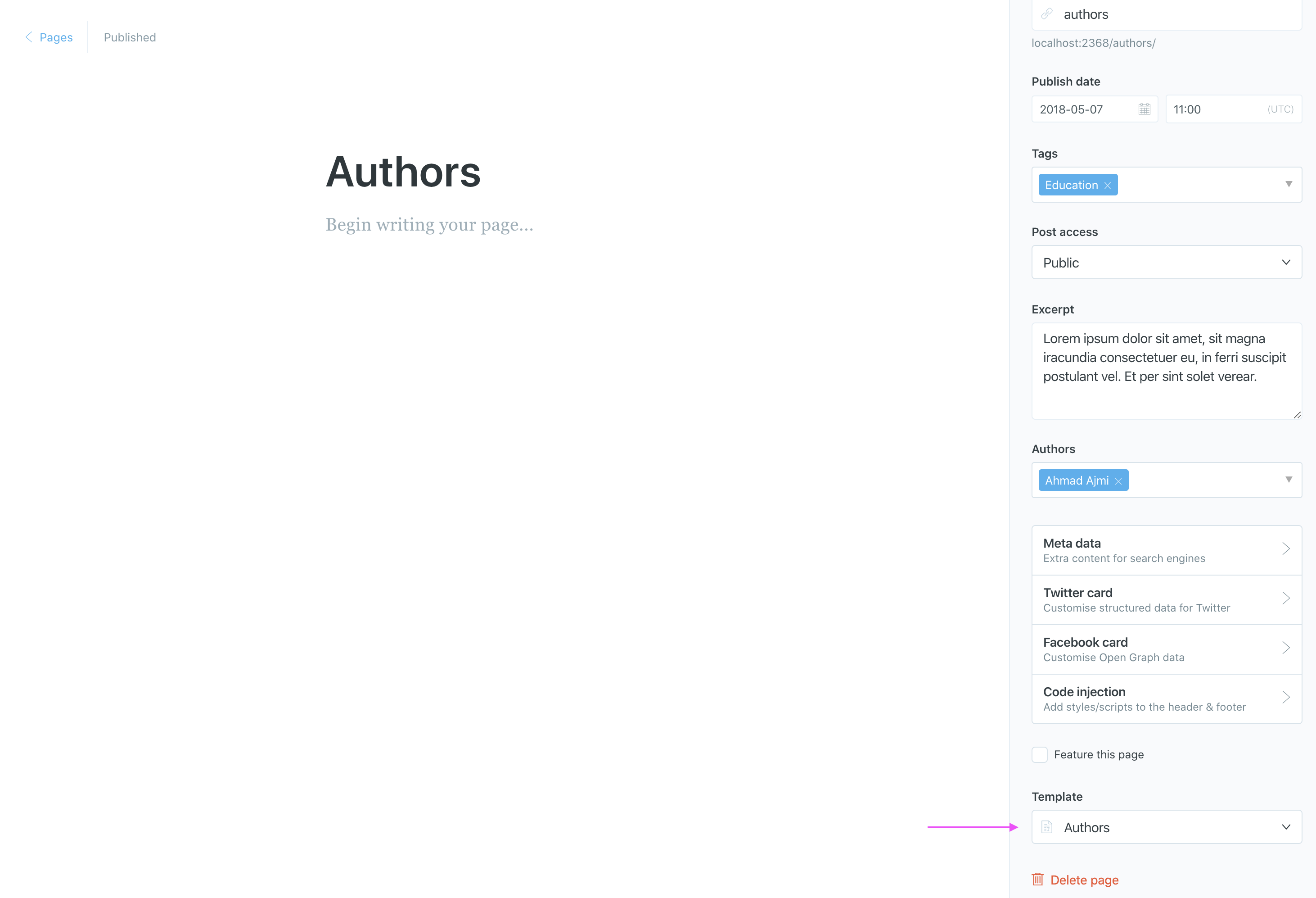 Ghost Authors Page