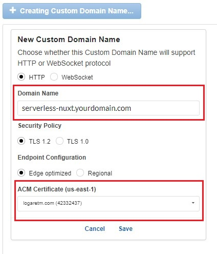 Setting a custom domain name for AWS APIGateway