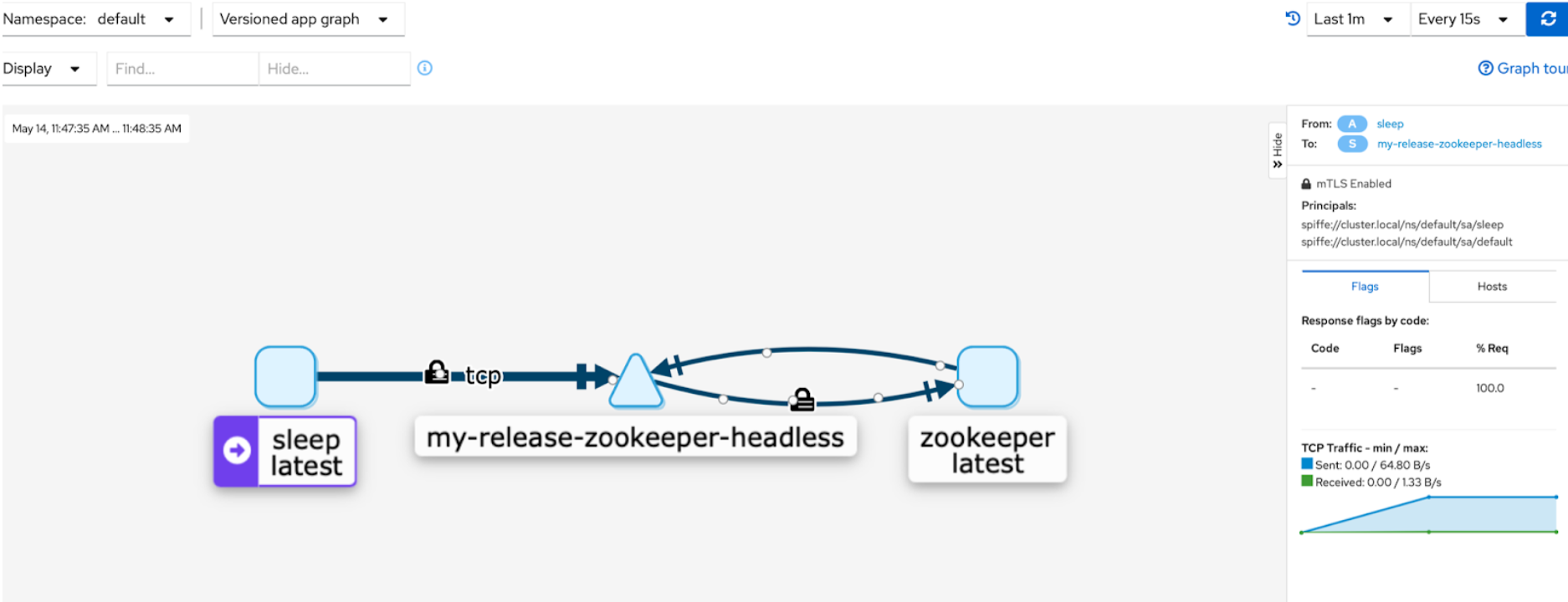 Visualize the ZooKeeper Services in Kiali