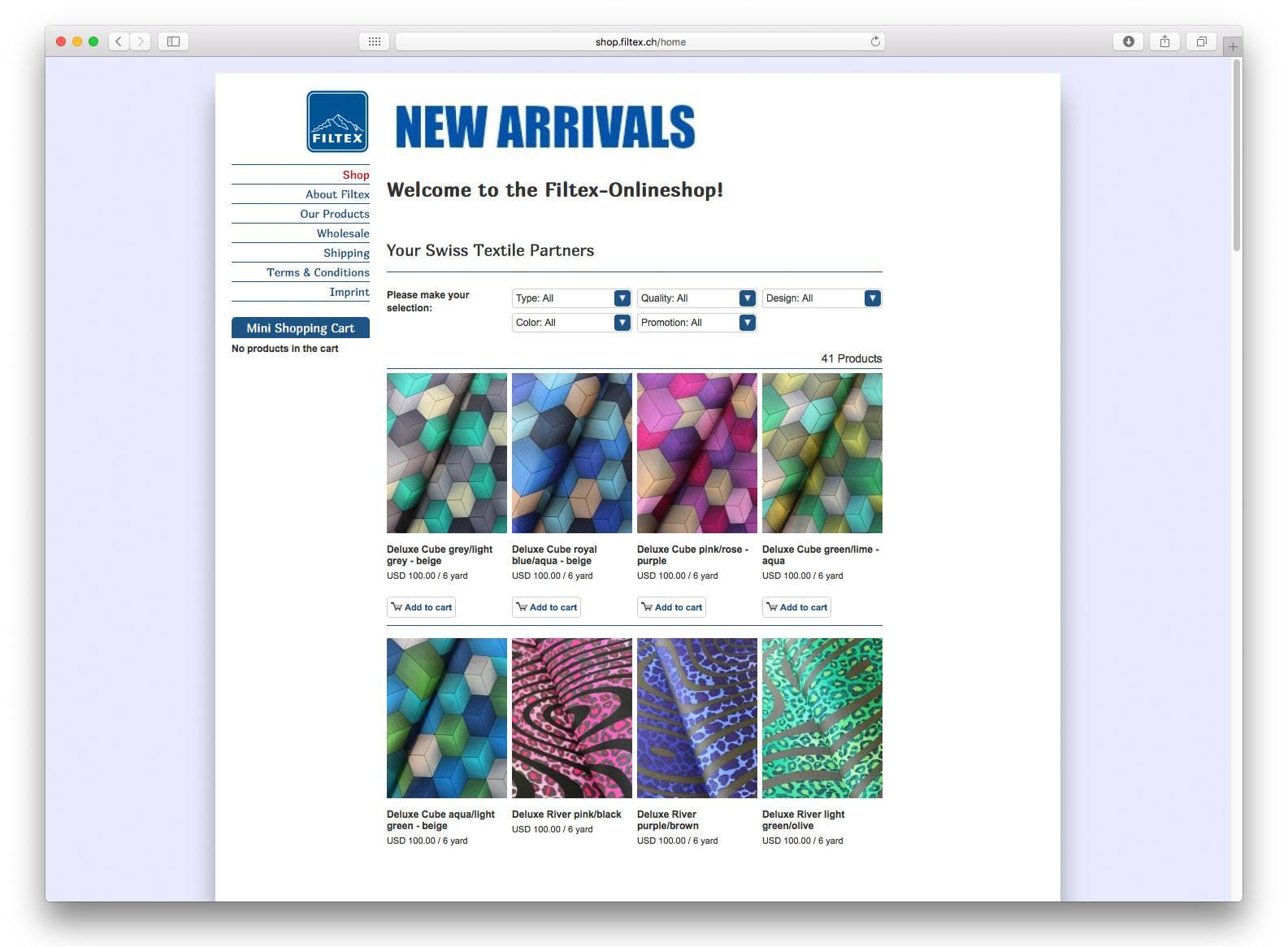 Filtex Webshop Screenshot