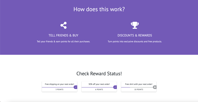 Shopify rewards layout