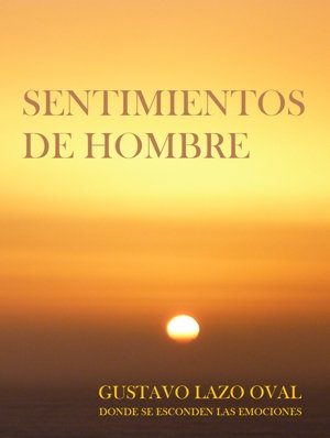 Cover of Sentimientos de Hombre featuring a sunset on a beach.