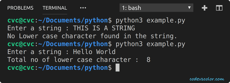 python example count lowercase character in string