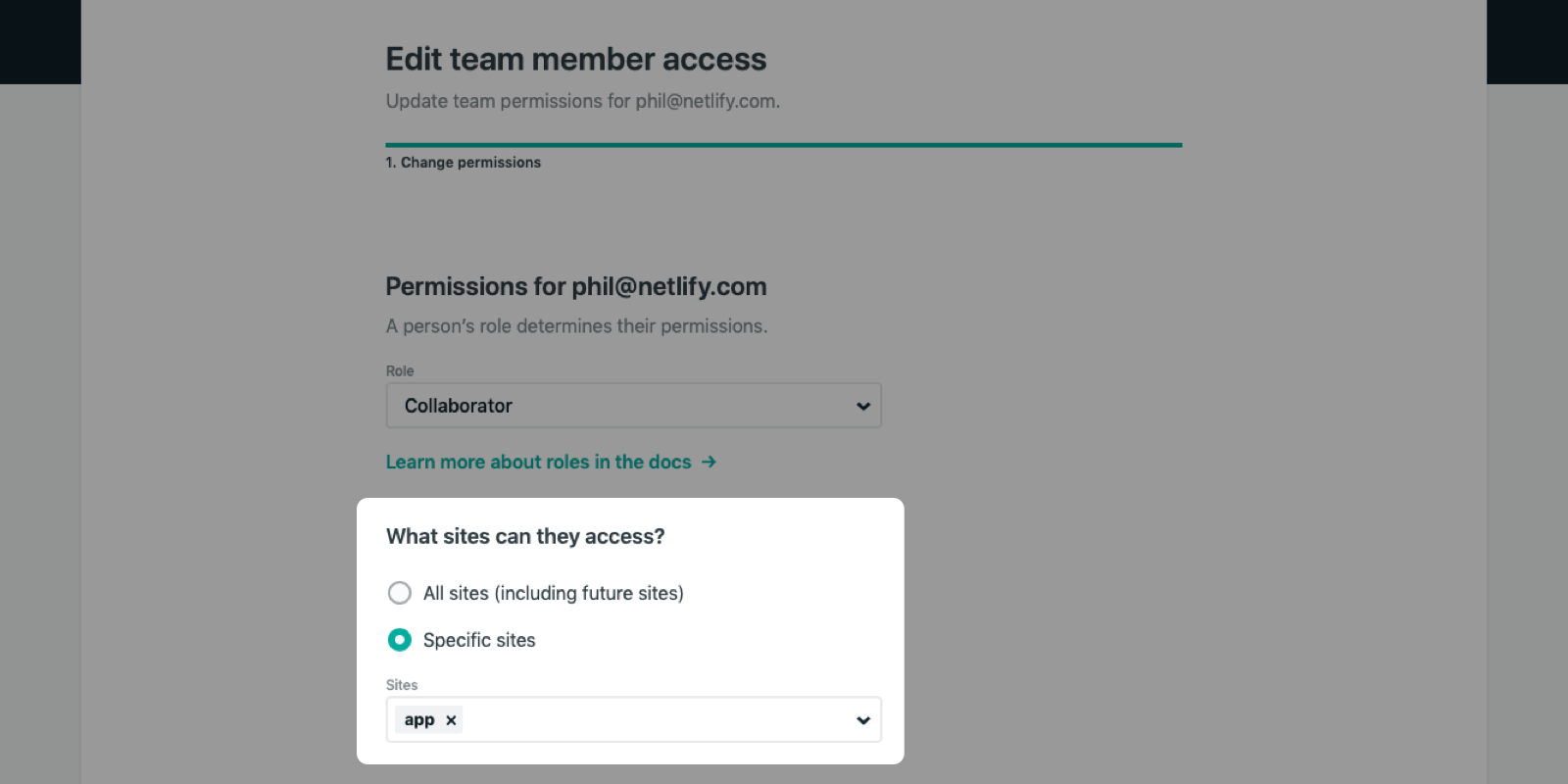 Owners can select the specific sites that a team member can access