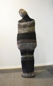 """Anna-Maria Saar, Estonia. """"Brides kidnapping bag"""" 2013. Woolen yarn, height 170cm"""