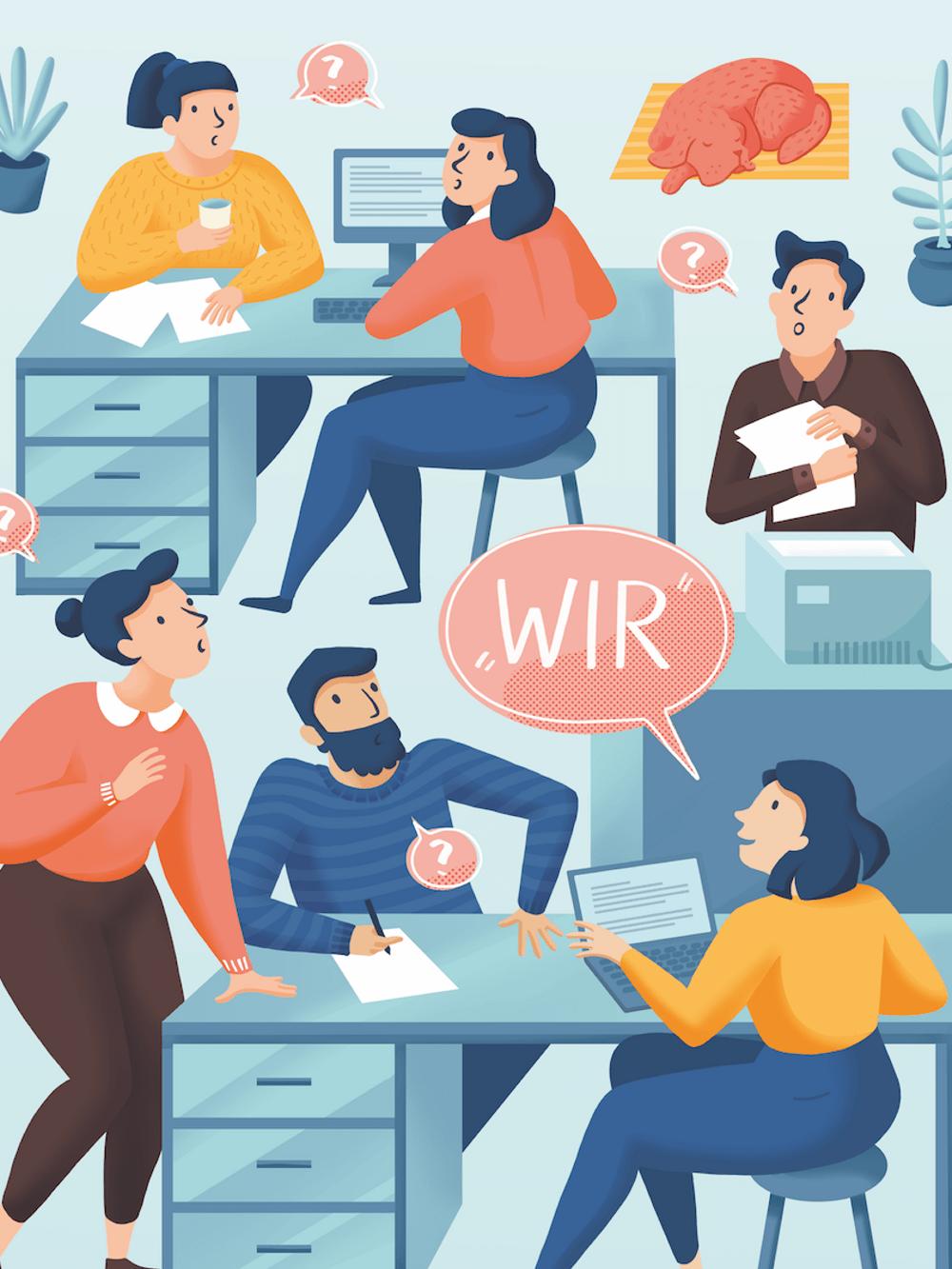 Menschen am Arbeitsplatz, die miteinander sprechen