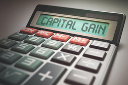 A calculator with capital gains on it