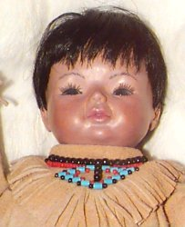Close up picture of a Native American papoose