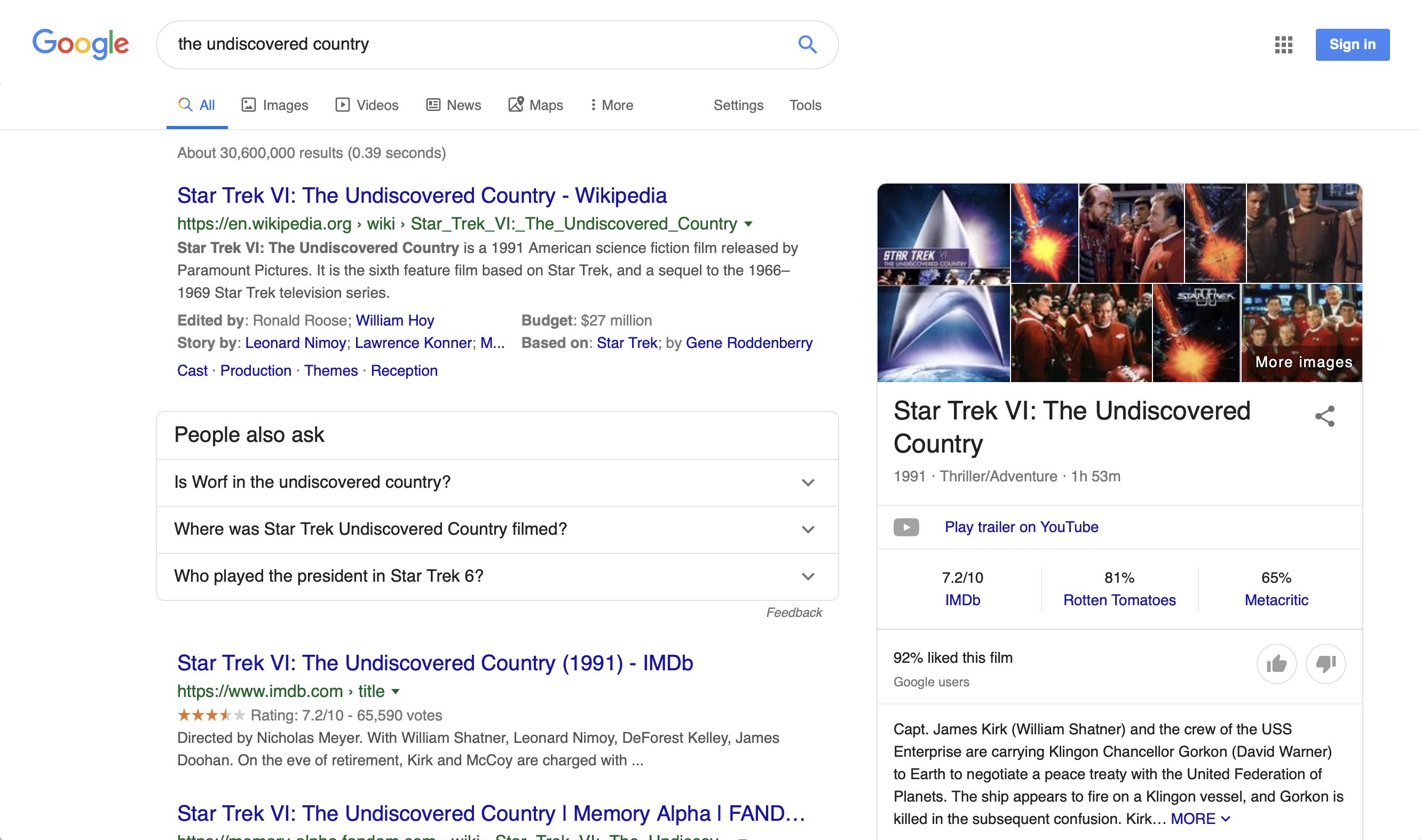 Google Undiscovered Country