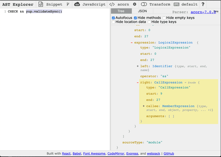 Here we're highlighting the yup.validateSync() expression to see its AST equivalent
