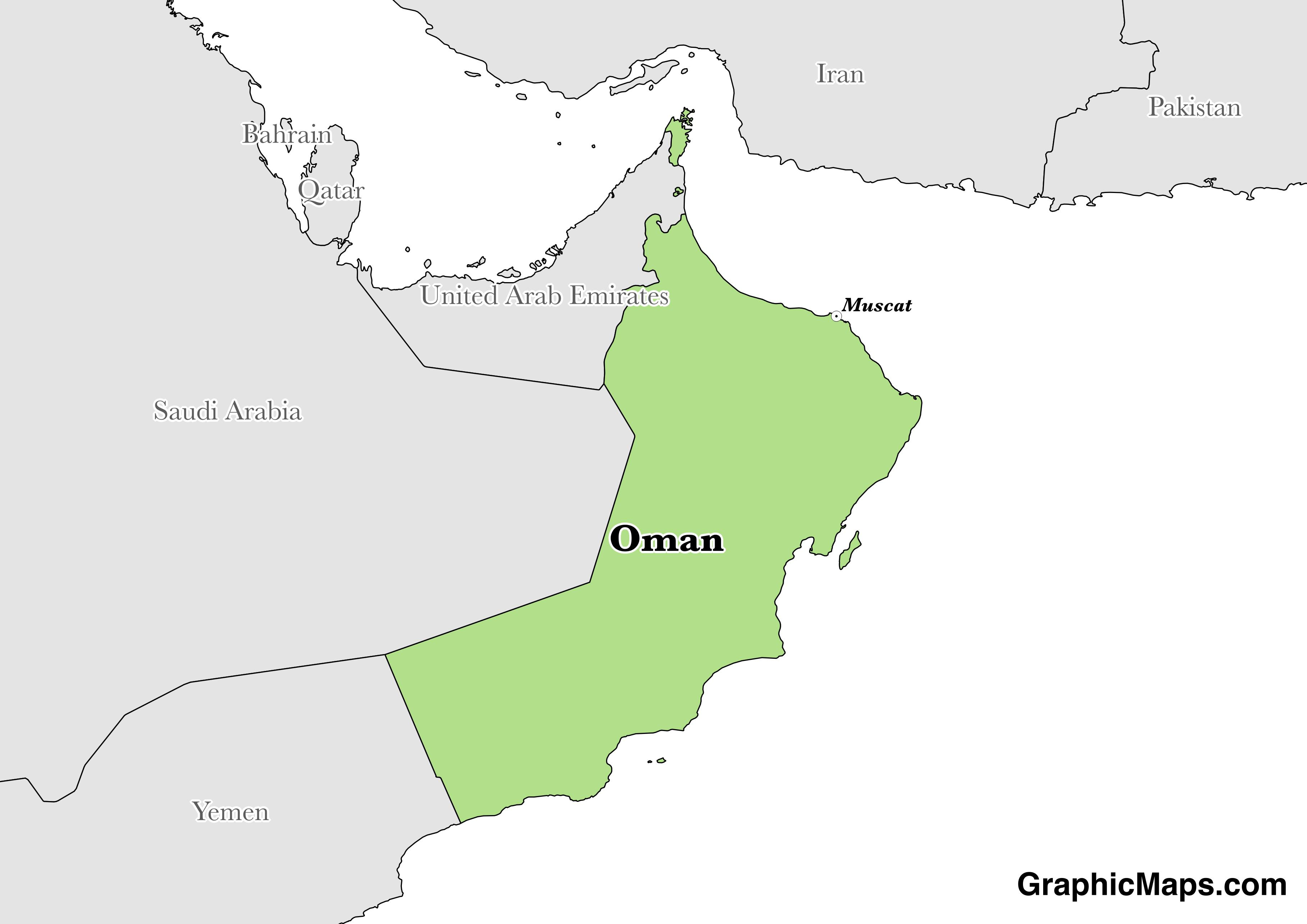 Map showing the location of Oman