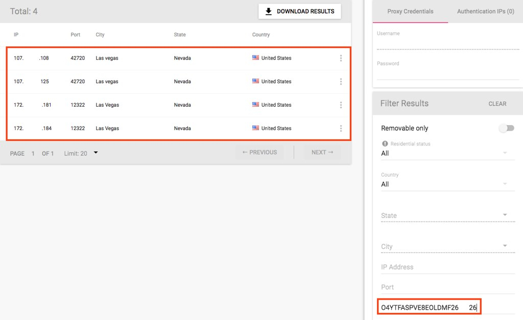 How to filter purchased proxies results