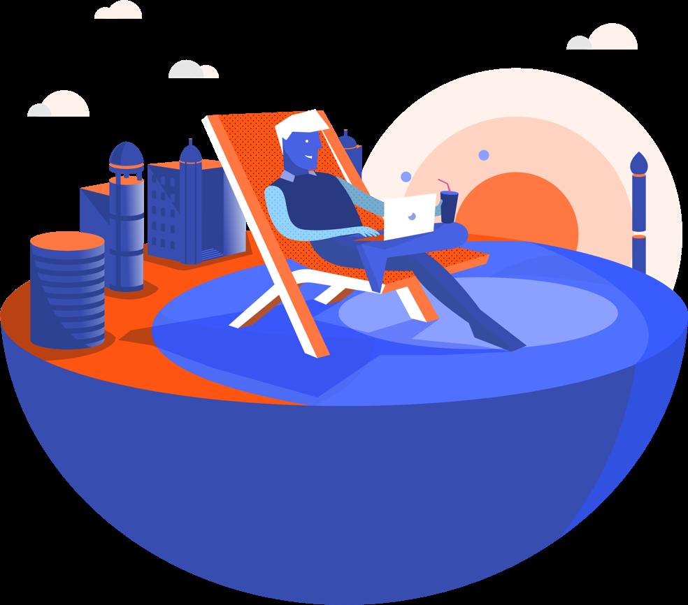 Ilustração de uma pessoa sentada de forma relaxada, com um computador no colo, numa cadeira de praia, no meio do Marco Zero