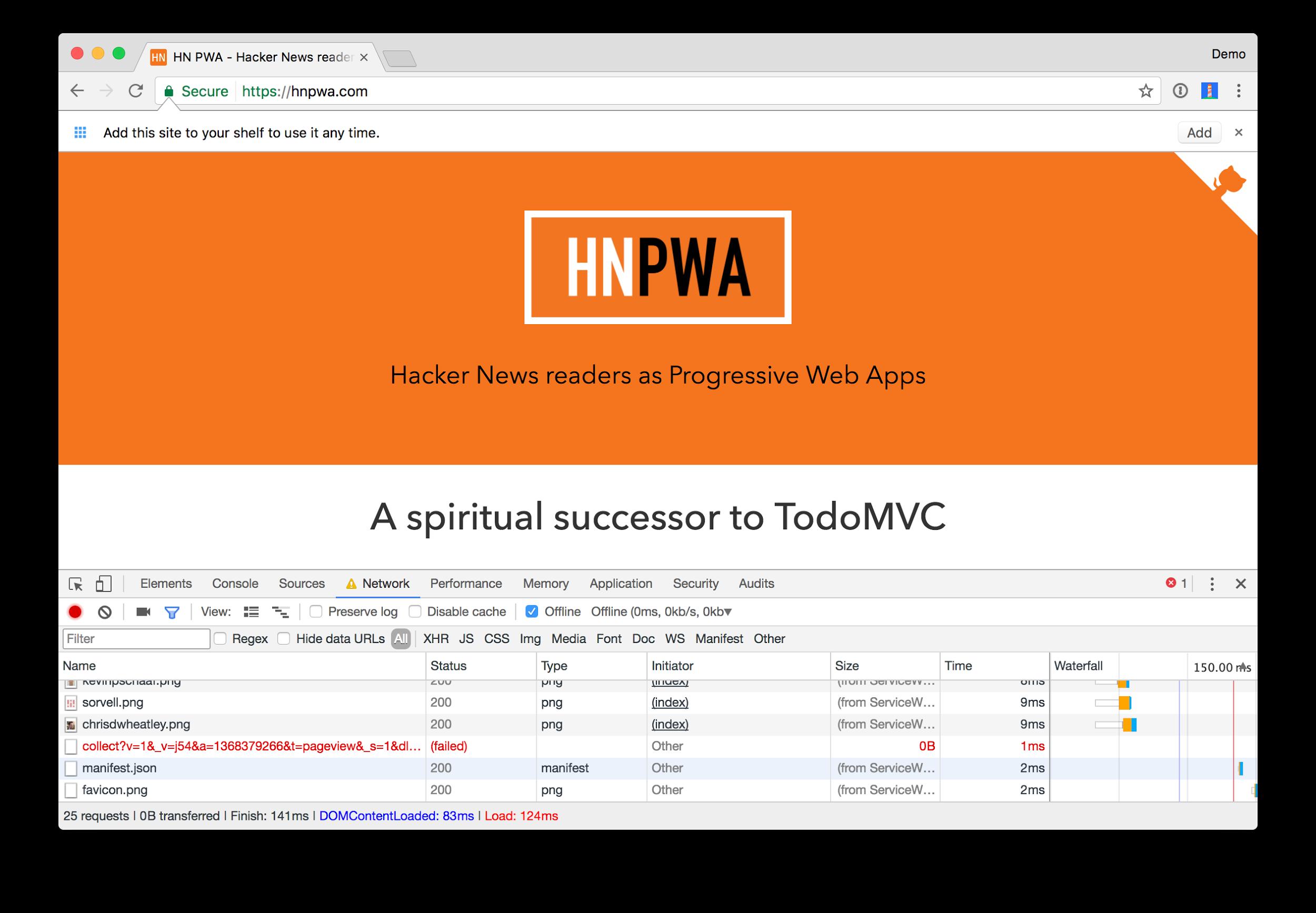 Hacker News PWA Offline