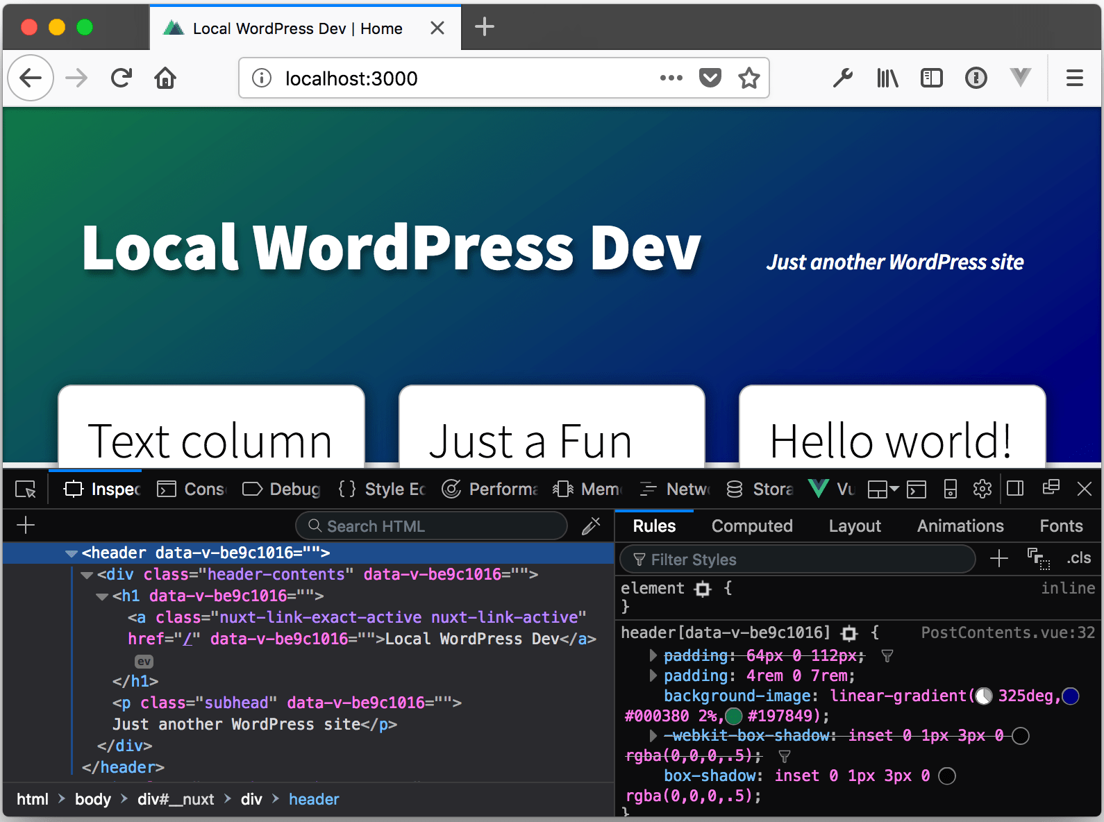 Building a Site with Vue, Nuxt js, and WordPress REST API, Part 3