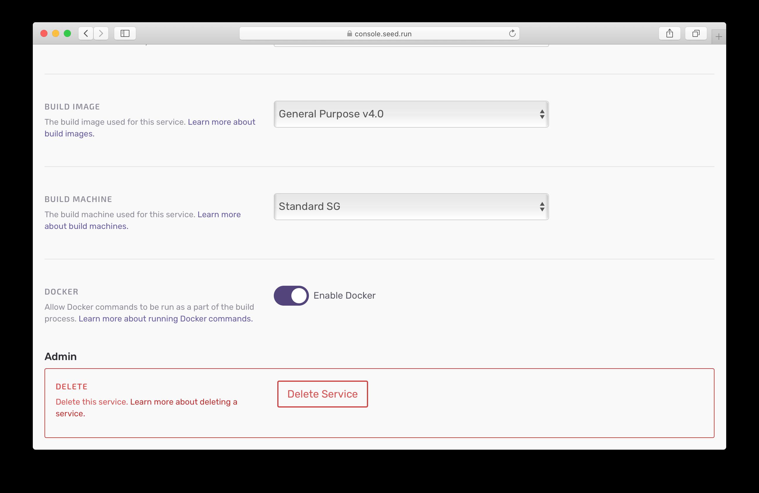 Enable Docker commands in Seed