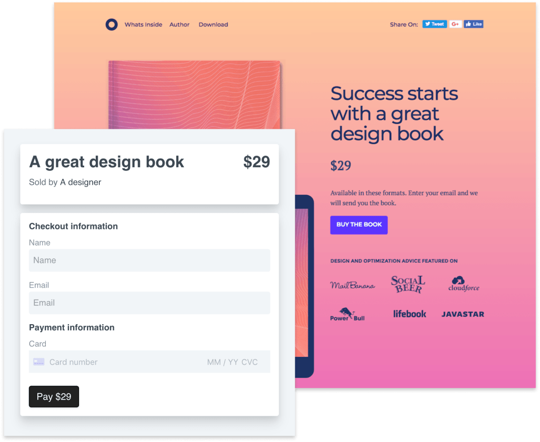 sell design books on unbounce