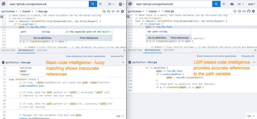 LSIF code intelligence comparison