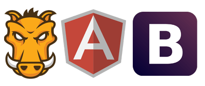 Icons of the development frameworks used in the frontend; Grunt, Angular and Bootstrap.