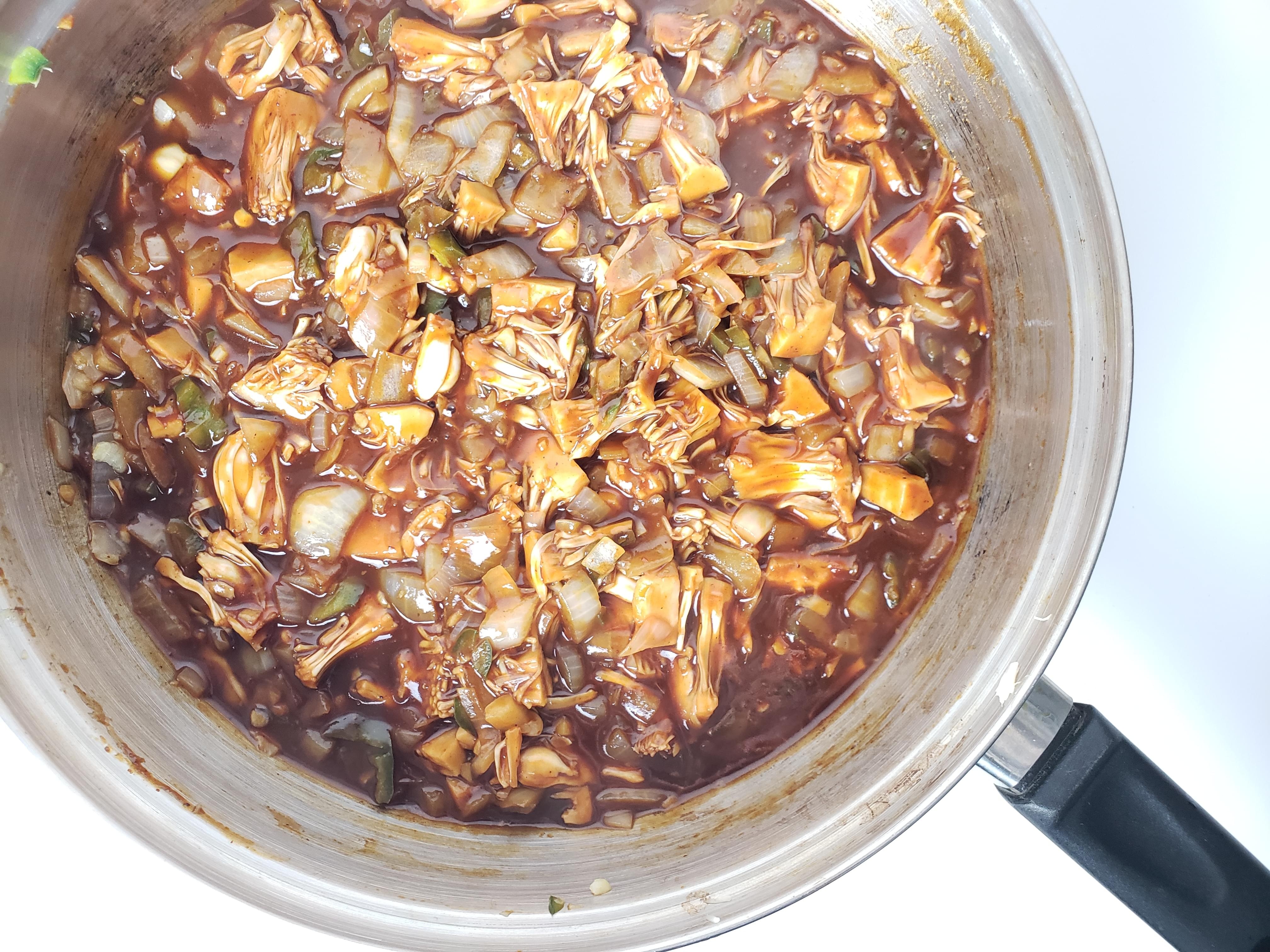 Pan full of bbq jackfruit and onions