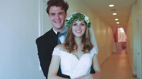 Ben holding Amelia around waist and smiling