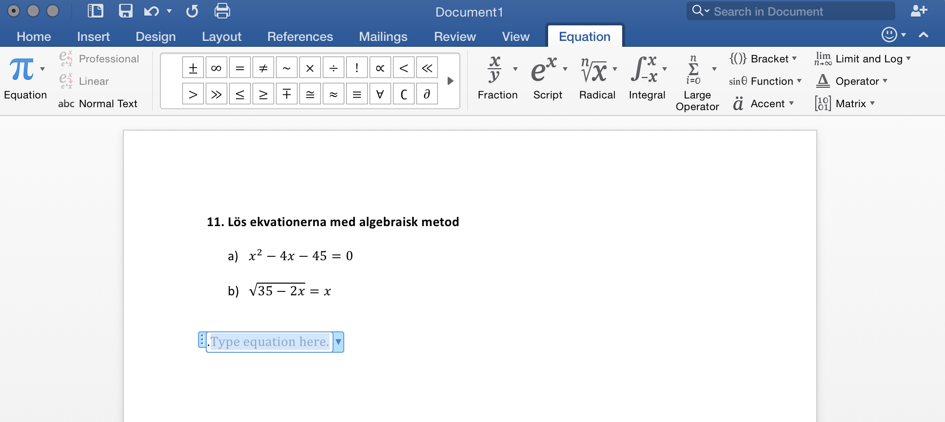 Ekvation i Microsoft Word