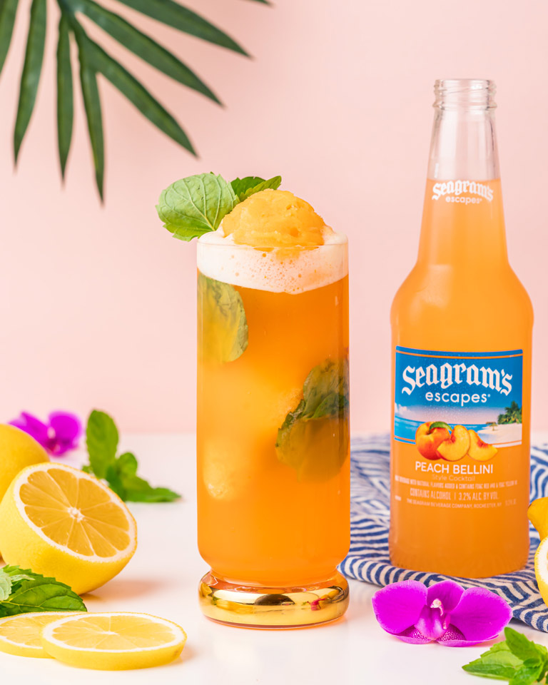 Peach Gin Float Recipe Image