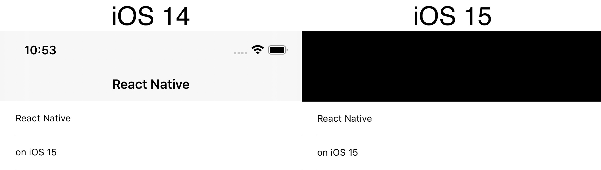 Screenshot of navigation bar on iOS 14 and iOS 15