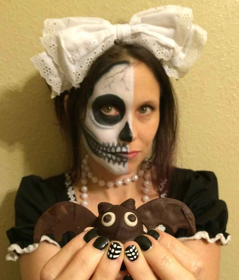 skeledoll with vegan bat truffle