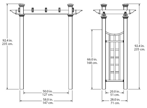 Fairfield Deluxe Arbor wireframe dimensions