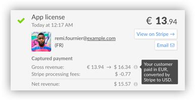Stripe charge revenue details