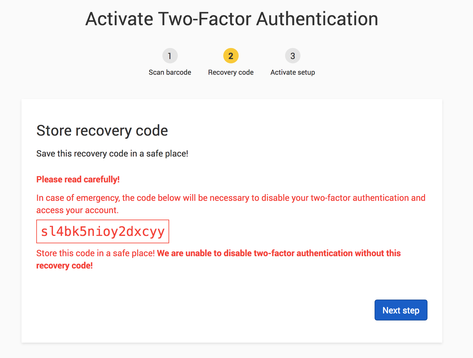 Two-factor recovery code