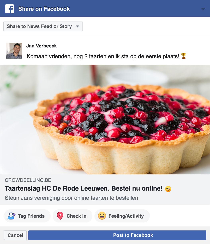 Je leden kunnen punten verdienen door te delen op Facebook