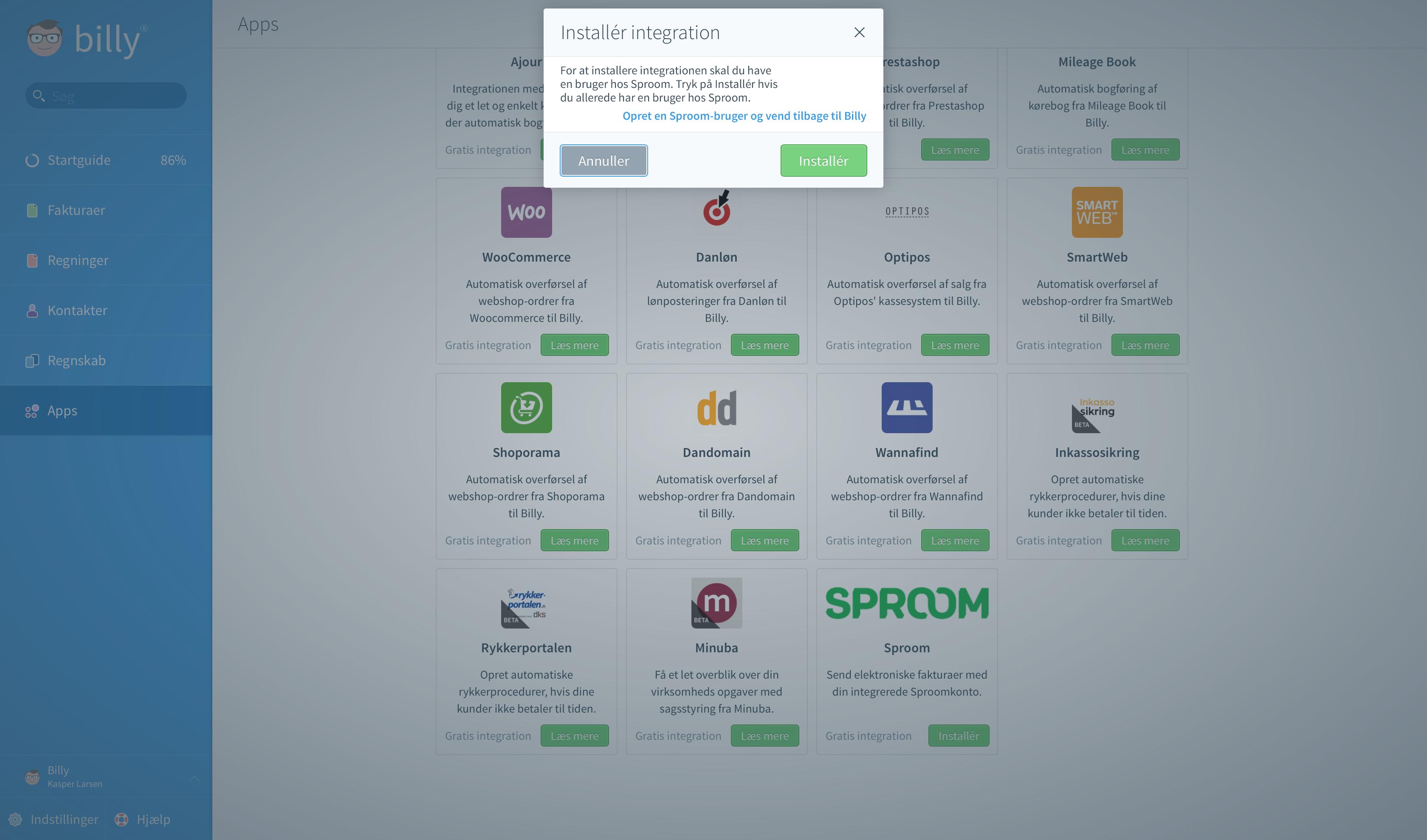Billy Regnskabsprogram integrerer med Sproom