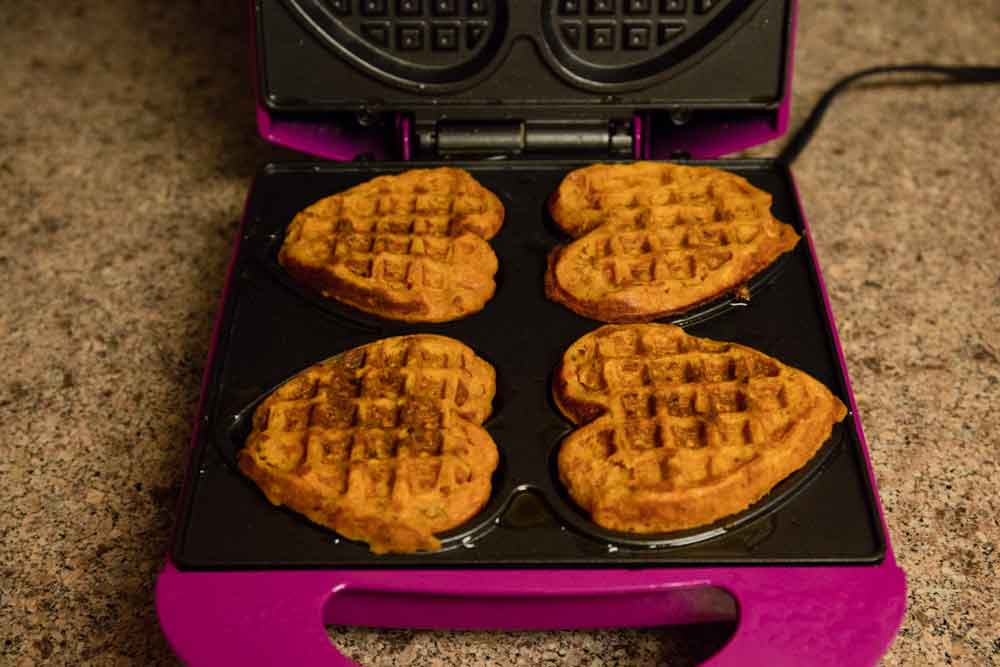 minestrone waffles in the waffle iron
