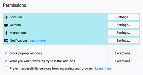 Some of the Firefox permission controls