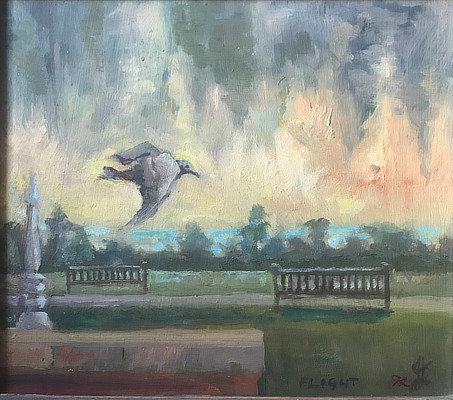painting of a seagull flying over the Leas