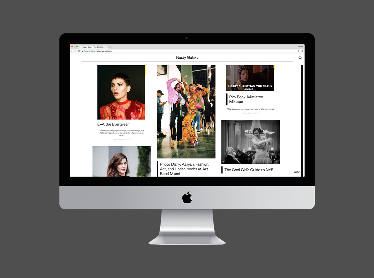 Nasty Gal blog on iMac.