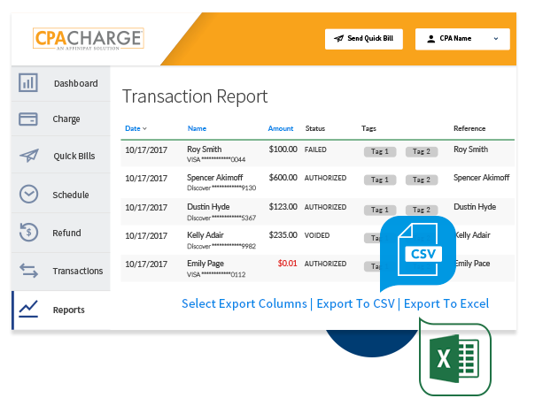 CPACharge software           report feature, detailing various transactions and export options:           CSV, Excel