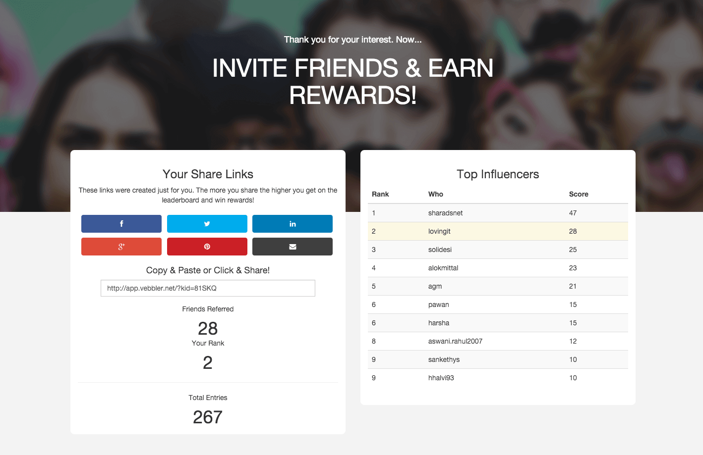 Vebbler drives 18,000+ leads with a customer leaderboard